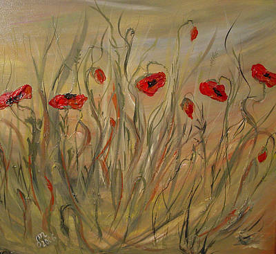 Art Print featuring the painting Happy Poppies by Dorothy Maier