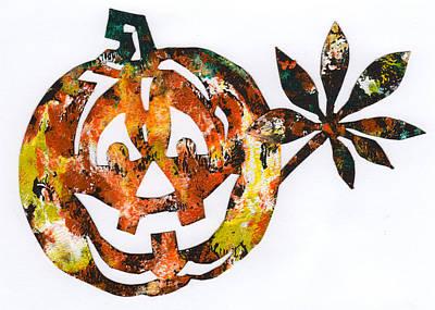 Halloween Card Mixed Media - Happy Pumpkin by Anna Ruzsan