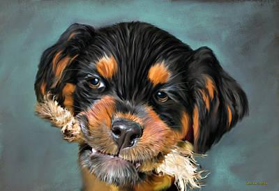 Happy Puppy Art Print by Angela A Stanton