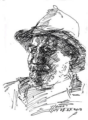 Cowboy Hat Drawing - Happy Roger by Ylli Haruni