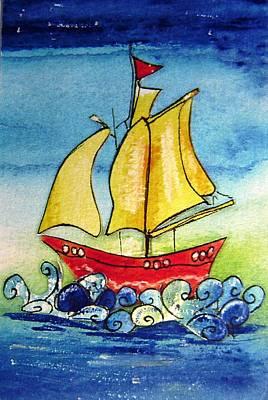 Toy Boat Mixed Media - Happy Sailing Ship  by Mary Cahalan Lee- aka PIXI