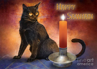 Wiccan Drawing - Happy Samhain Kitten And Candle by Melissa A Benson