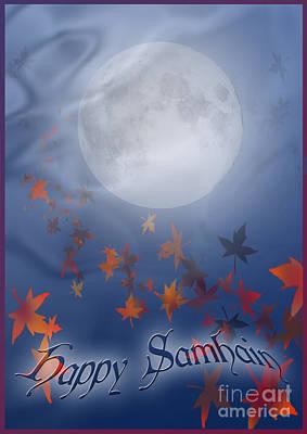 Samhain Digital Art - Happy Samhain Moon And Veil  by Melissa A Benson