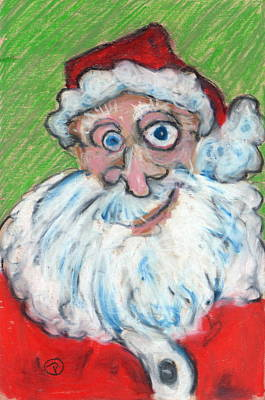 Painting - happy Santa by Todd  Peterson