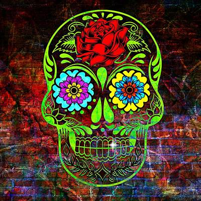 Rose Digital Art - Happy Skull by Lilia D