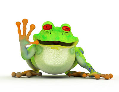 Frog Digital Art - Happy Smiling Toon Frog by Michal Bednarek