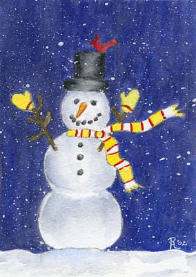 Snowy Night Painting - Happy Snow by Rhonda Leonard