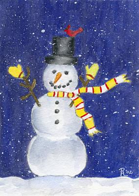 Thrilled Painting - Happy Snow by Rhonda Leonard