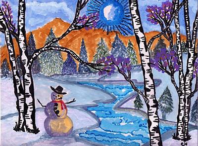 Painting - Happy Snowman by Connie Valasco