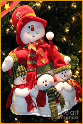 Photograph - Happy Snowman Family by Chris Anderson