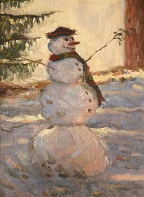 Painting - Happy Snowman by Jeff Dickson