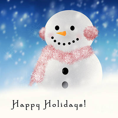 Photograph - Happy Snowman by Pam  Holdsworth