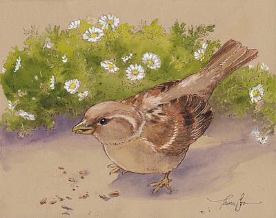 Happy Sparrow 5 Art Print by Tracie Thompson