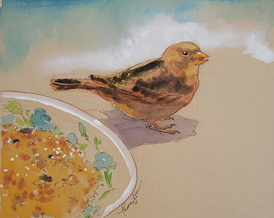 Sparrow Mixed Media - Happy Sparrow Two by Tracie Thompson