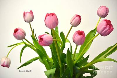 Art Print featuring the digital art Happy Spring Pink Tulips 2 by Jeannie Rhode
