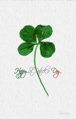 Happy St. Patrick's Day 4 Leaf Clover Art Print by Robert J Sadler