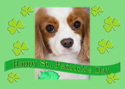 Happy St. Patrick's Day Cavalier King Charles Spaniel Greetings Art Print