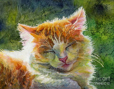 Watercolor Pet Portraits Painting - Happy Sunbathing 2 by Hailey E Herrera
