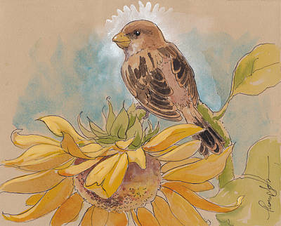 Sparrow Mixed Media - Happy Sunflower Sparrow by Tracie Thompson