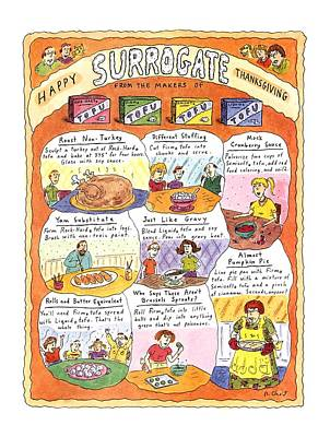 Happy Surrogate Thanksgiving Art Print by Roz Chast