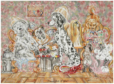 Fire Hydrant Painting - Happy Tails To You by Barbara Black