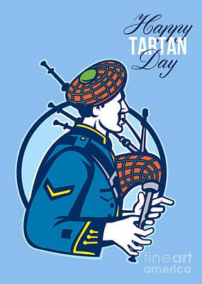 Happy Tartan Day Bagpiper Greeting Card Art Print by Aloysius Patrimonio