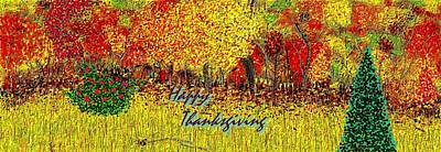 Give Thanks Painting - Happy Thanksgiving Autumn Foliage Wild Roses Blue Spruce by L Brown