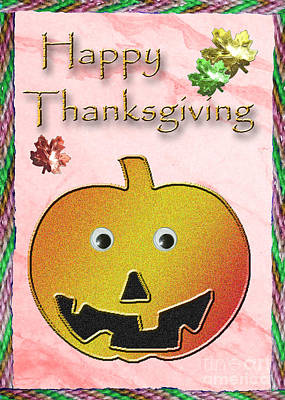 Jack-o-lantern Card Mixed Media - Happy Thanksgiving Pumpkin  by Jeanette K