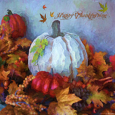 Painting - Happy Thanksgiving - Seasonal Art by Jordan Blackstone