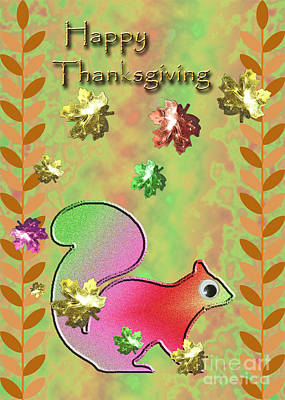 Jack-o-lantern Card Mixed Media - Happy Thanksgiving Squirrel by Jeanette K