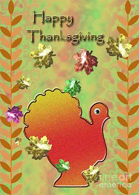 Jack-o-lantern Card Mixed Media - Happy Thanksgiving Turkey  by Jeanette K