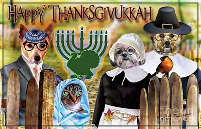 Digital Art - Happy Thanksgivukkah -2 by Kathy Tarochione