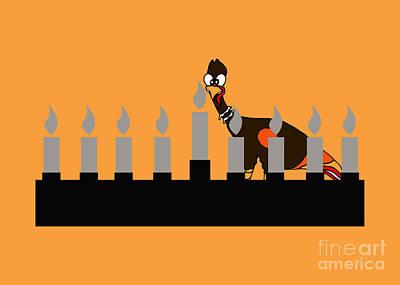Thanksgivukkah Wall Art - Drawing - Happy Thanksgivukkah Menorah by Rachel Lowry