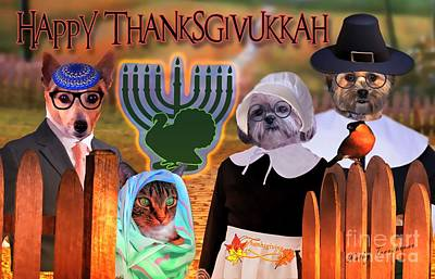 Digital Art - Happy Thaznksgivukkah -3 by Kathy Tarochione