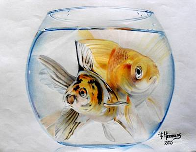 Goldfish Drawing - Happy  Together by Hendrik Hermans