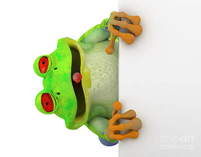 Smile Photograph - Happy Toon Frog With A White Banner by Michal Bednarek