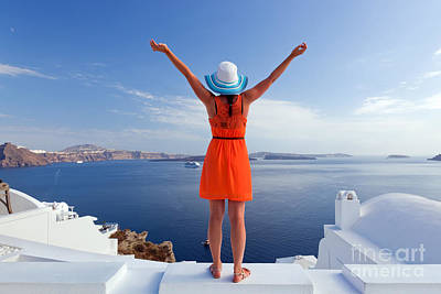 Successful Photograph - Happy Tourist Woman On Santorini Island Greece by Michal Bednarek