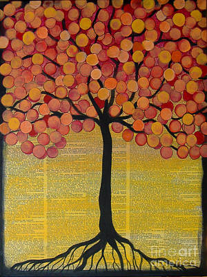 Mixed Media - Happy Tree In Orange by Lee Owenby