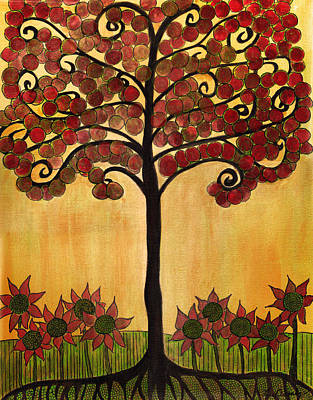 Happy Tree In Red Art Print