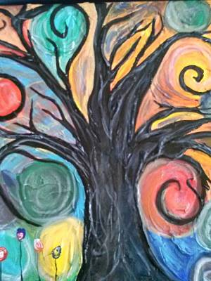 Happy Tree Print by Sarah Dufner