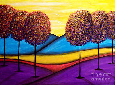 Painting - Happy Trees With Blue Hills by Lee Owenby