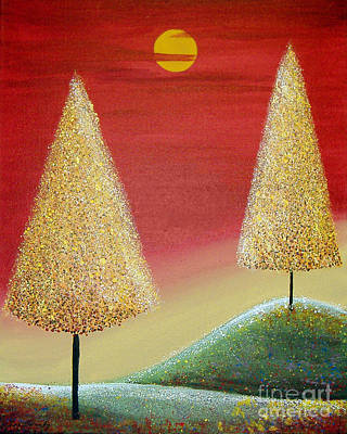 Painting - Happy Trees With Red Sky by Lee Owenby