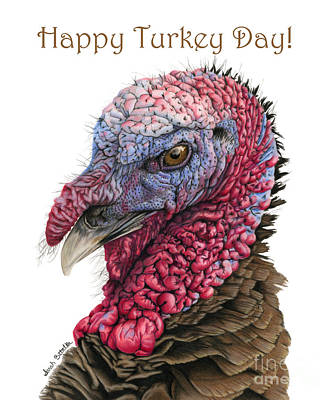 Turkey Drawing - Happy Turkey Day Cards by Sarah Batalka