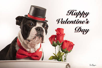 Terrier Digital Art - Happy Valentines Day by Eric Chegwin