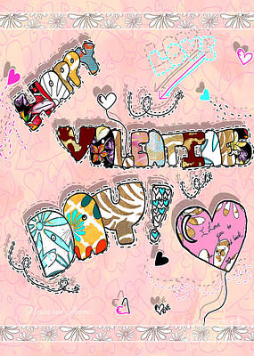 Happy Valentines Day Fun Word Art By Megan And Aroon Print by Megan Duncanson