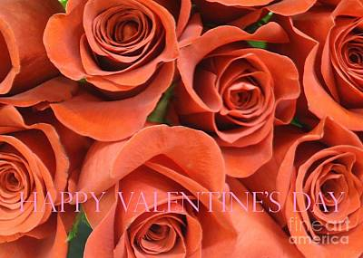 Photograph - Happy Valentine's Day Pink Lettering On Orange Roses by Barbie Corbett-Newmin