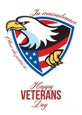 Happy Veterans Day American Eagle Greeting Card Art Print by Aloysius Patrimonio