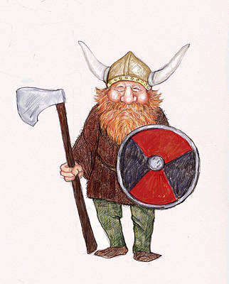 Happy Viking Art Print by Peggy Wilson