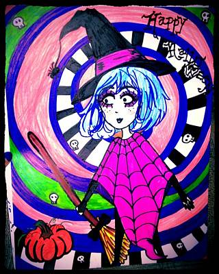 Beetlejuice Drawing - Happy Witch by Melody erin Hammonds
