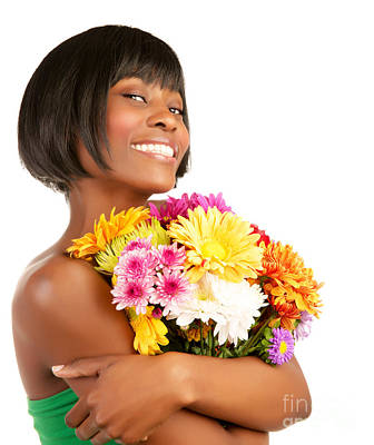 Photograph - Happy Woman Holding Flowers by Anna Om